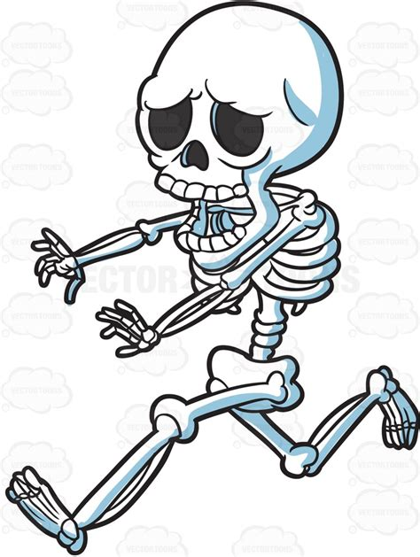 skeleton clipart a skeleton running away in horror clipart by vector