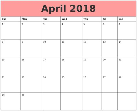 april 2018 calendars that work