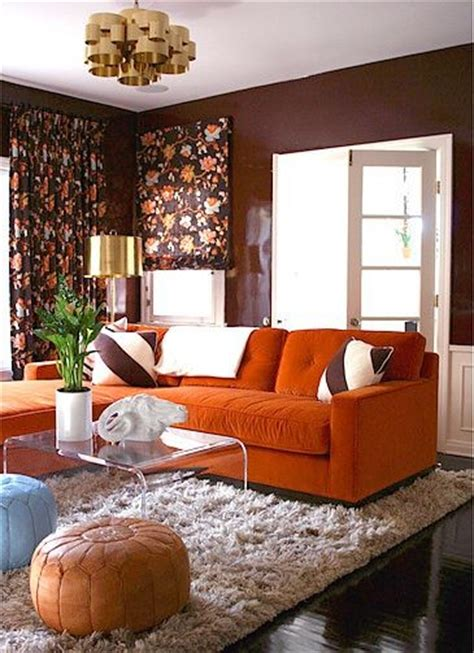 Orange Sofa Decorating Ideas by 23 Living Rooms With Bold Orange Sofas Messagenote