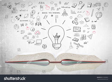 doodle how to make knowledge creative idea light bulb open stock photo 321828962