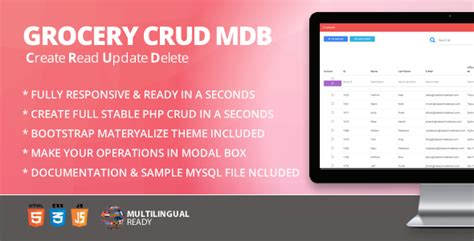bootstrap themes codeigniter free nulled codeigniter grocery crud materialize bootstrap