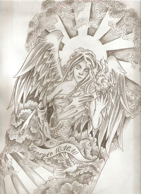 religious angel tattoo designs religious with memorial banner sleeve design