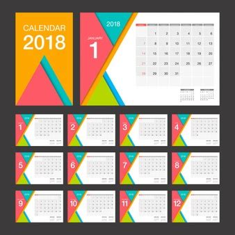 Calendar 2018 Template Design Desk Calendar Vectors Photos And Psd Files Free