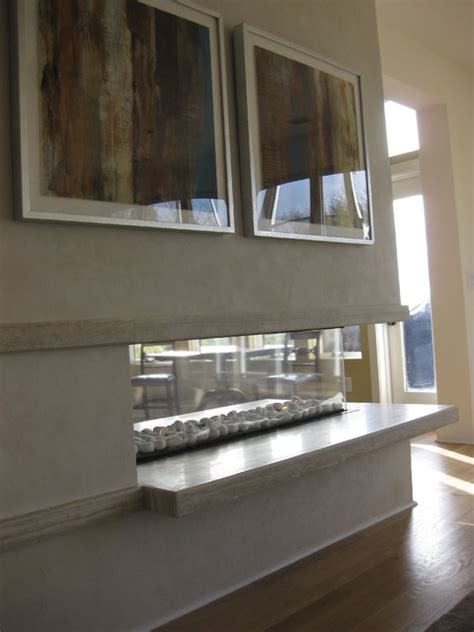 Open Sided Fireplace by Open Three Sided Gas Fireplace With Floating Hearth