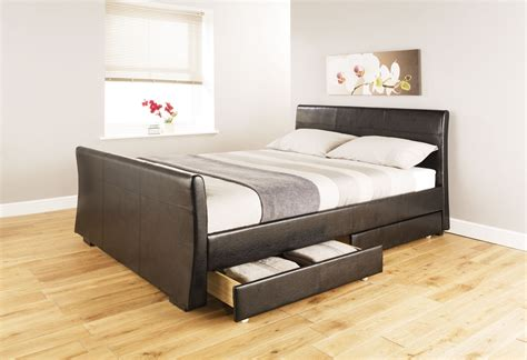 Bed Bigland 3 In 1 cheap atlanta four drawer storage black faux leather