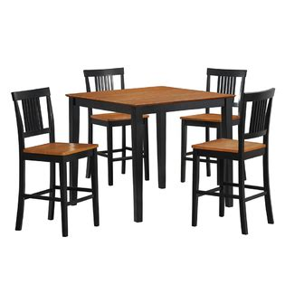 Edison Bistro Table Walker Edison Black 5 Wood Pub Table Set With Accents Home Furniture Bar Furniture
