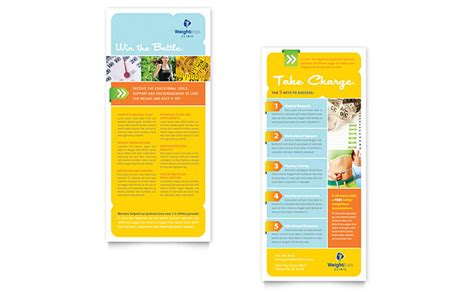 rack card template for pages weight loss clinic rack card template design