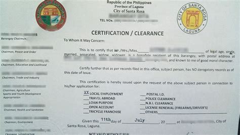 Clearance Certificate Letter Sle Sle Barangay Certification Letter 28 Images Barangay Tax Code Sle Loadxtreme Resources How