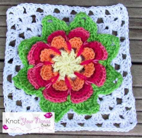 flower pattern granny square knot your nana s crochet granny square cal week 8