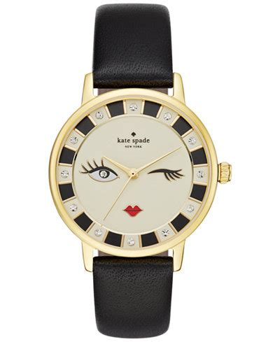 kate spade  york womens metro black leather strap  mm ksw watches jewelry