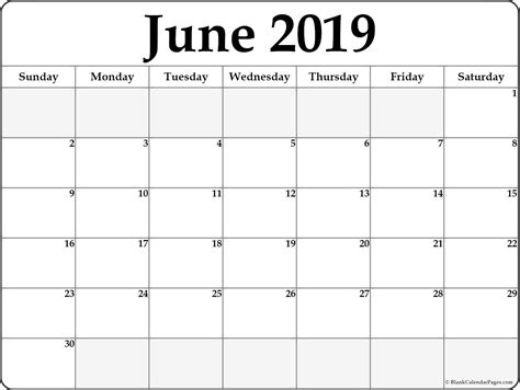 june  blank calendar templates