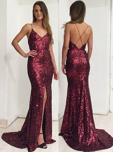 Burgundy Sequins Spaghetti Straps Evening Dress 2018 Front Slit Open Back Prom Dress BA7712 Prom