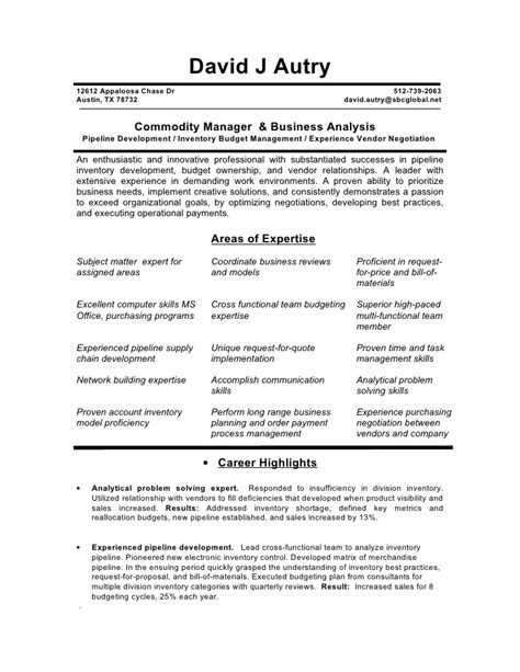 Commodity Broker Sle Resume by Global Commodity Manager