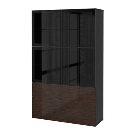 besta door best 197 storage combination w glass doors black brown
