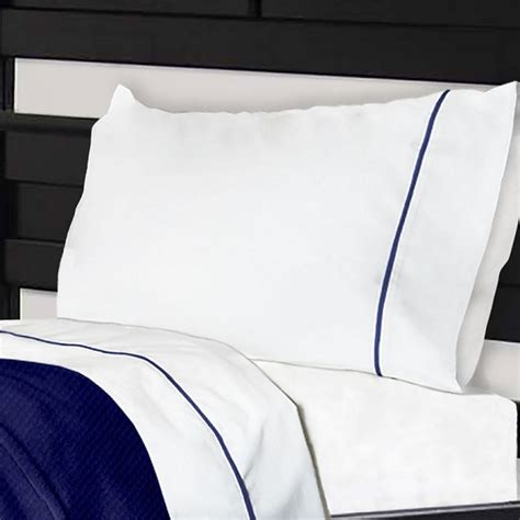 Bunk Bed Sheet Sets Cotton Polyester Bunk Bed Sheets With Notuck 174 Top Sheets White With Navy Trim
