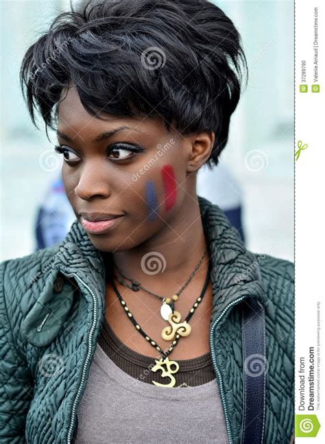 ebony french lady beautiful black woman with french flag painted on her
