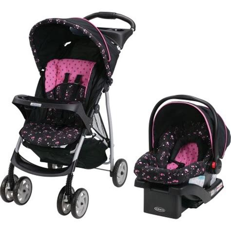 graco car seat pink flowers graco literider click connect travel system with click