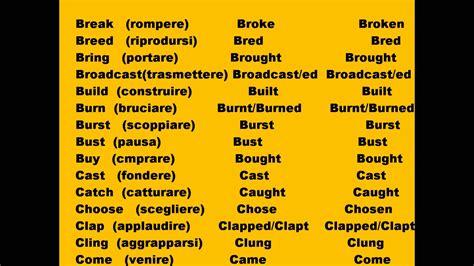 tavola verbi irregolari inglese verbi irregolari di inglese 1 4