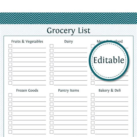 printable australian grocery list 8 best images of editable grocery list printable