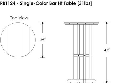 table layout height 100 polywood 174 traditional recycled plastic 24 round bar height