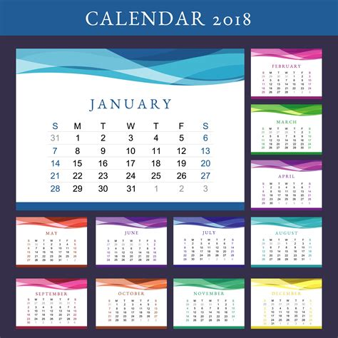 printable calendar vector printable calendar 2018 vector download free vector art