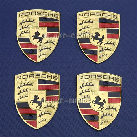 porsche wheel emblem shiny gold plate replacement emblem badge crest for wheel