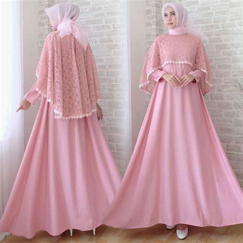 Batik Gamis Sofia gamis lebaran cape brokat terbaru sofia dusty pink baju