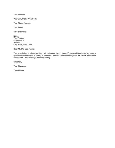 Resignation Letter For Best 25 Resignation Letter Format Ideas On