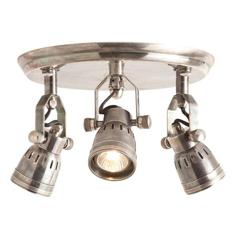 Three Light Ceiling Fixture Trey Industrial Loft 3 Light Vintage Silver Flush Mount Ceiling Fixture Kathy Kuo Home