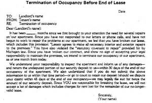 Sle Lease Termination Letter From Landlord by Kalkaska County Courts