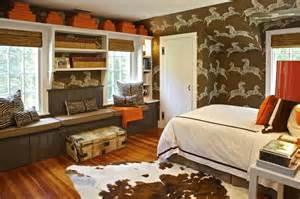 brown and orange room cottage boy s room