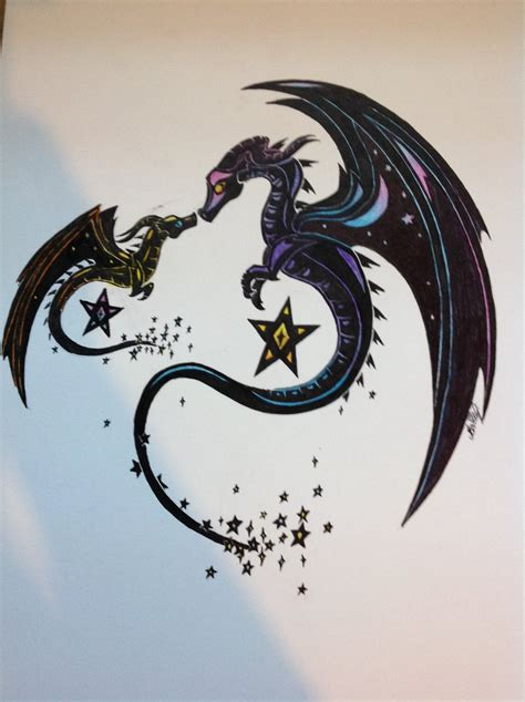 wish upon a star dragon tattoo design by cloudy dragons