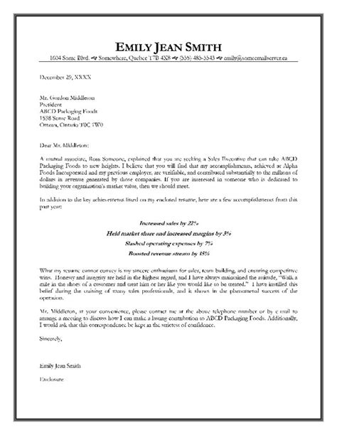 appointment letter sle for offer letter format for sales executive executive