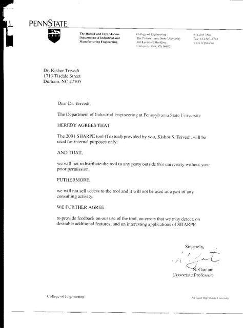 printable sample letter agreement form basic
