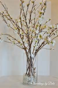 Clear Glass Floor Vases Pottery Barn Inspired Faux Cherry Blossom Branches