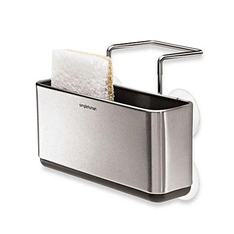 kitchen sink organiser simplehuman 174 slim stainless steel sink organizer www bedbathandbeyond