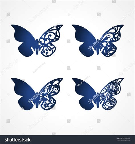 butterfly place cards template laser cut wedding place cards vector stock vector