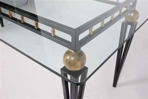 vintage forged iron and glass dining table at 1stdibs