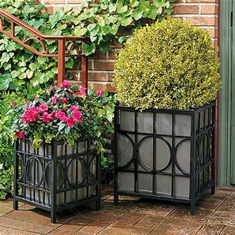 garden flower boxes wrought iron garden flower pots planted flower boxes