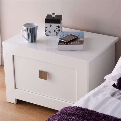 bedroom tables bari white gloss bedside table bedroomfurnitureworld co uk