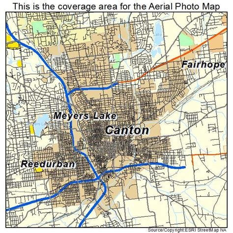 aerial photography map of canton oh ohio
