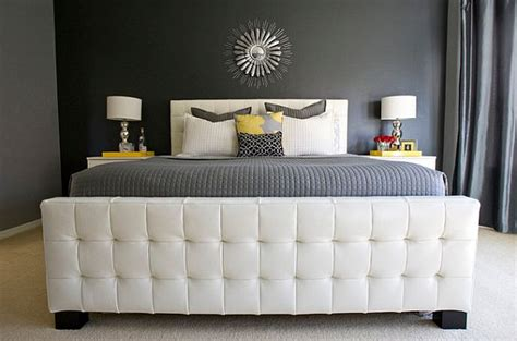 Modern bedroom with yellow grey and white color scheme decoist