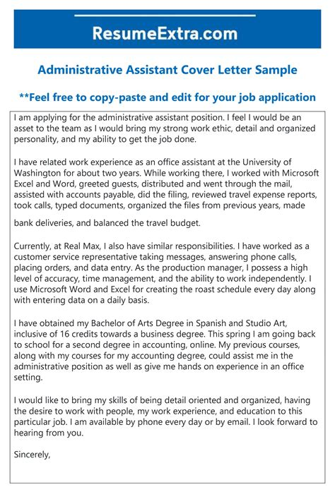 administrative assistant cover letter sample layout
