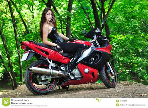 The Girl On A Sports Bike In The Woods Stock Image Image