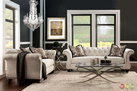furniture of america living room collections antoinette crystal button tufted transitional sofa set