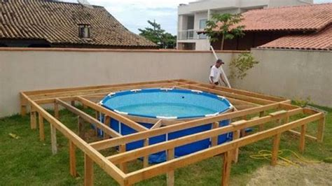 pool deck bauen creative ideas diy above ground swimming pool with pallet