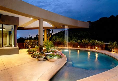 contemporary pool design breathtaking pool waterfall design ideas