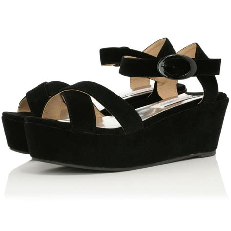 buy wyld flatform platform sandal shoes black suede style