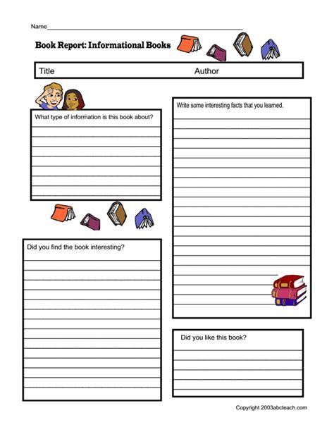fiction book report template non fiction book report form pdf homeschooling resources