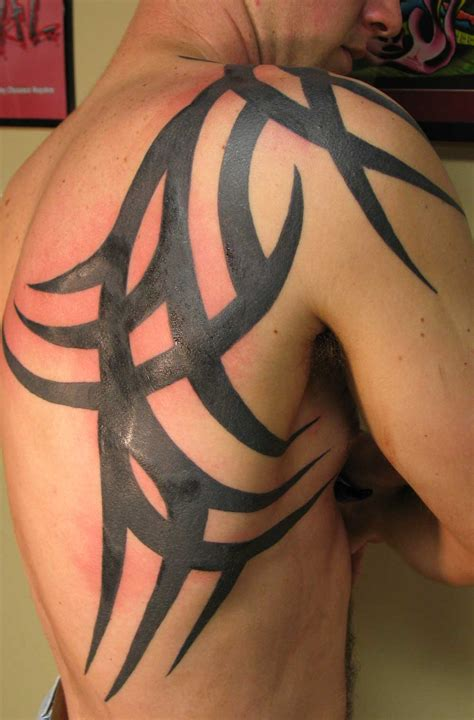 back tattoos for black men awesome black ink tribal on right back shoulder for